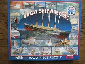 White Mountain GREAT SHIPWRECKS 1000 Piece PUZZLE Maritime Nautical COMPLETE
