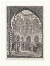 Maurischer Cour à Alger Orient piliers tourné Hommes Arcs Gravure sur bois E 17630