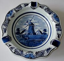 Vintage Delft Blauw Hand Painted Windmill Scene Ashtray No.458 Made in Holland