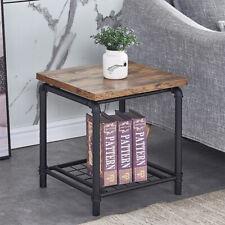 Industrial Square Side Table Metal Legs w/ Storage Shelf Sofa Side Coffee Table
