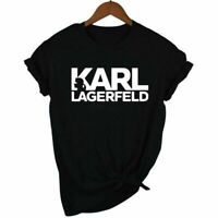 Karl Lagerfeld T Shirt Women Unisex Summer Fashion Short Sleeve Cotton Shirt