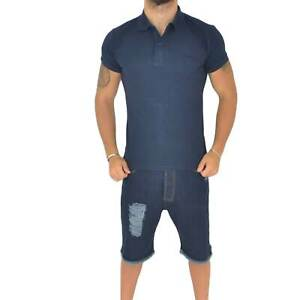 Polo basic uomo in cotone elastico blu semplice slim fit  con cucitura in tinta