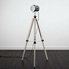 Theatre/Stage Wooden Tripod Lamp -Industrial/Retro Chic Floor Light - Light Wood