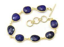 Blue Lapis Lazuli Bracelet Large Bezel Faceted 7 8 Inch Adjustable 14k Gold Fill
