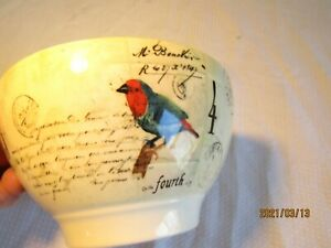 Williams Sonoma  2012 Rooster Script 6 inch Bowl Earthenware  H