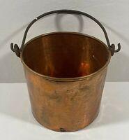 Antique VTG Copper Pail Pot Bucket w/ Forged Rail & Handles Dovetail Seam Sound