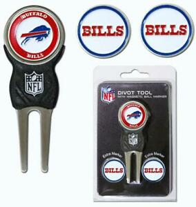 Buffalo Bills Golf Divot Tool with 3 Markers [NEW] NFL Golfing Marker Chip