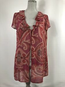 Victoria's Secret Large Sheer Maroon Burgundy Floral Paisley Swim Beach Cover Up
