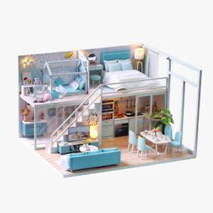 DIY LED Light Doll House Miniature Kit Mini Dollhouse Furniture Assembling Toy