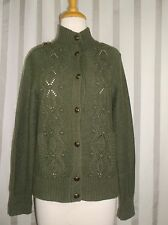Talbots Military style Cardigan sweater Green Small Unique