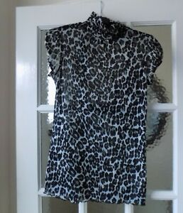Zara Collection Short Sleeved Animal Print Top, Size L