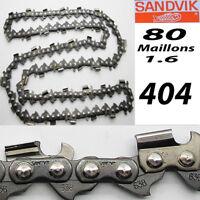 CHAINE tronçonneuse SANDVIK  pas de 404 1.6 80 maillons entraineur