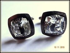 RARE  cufflinks Antique RUSSIAN sterling SILVER 875 genuine Rock crystal square