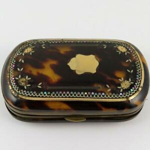 ANTIQUE VICTORIAN GOLD & MOTHER OF PEARL PIQUE SHELL LADIES COIN PURSE WALLET