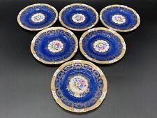 Crown Staffordshire A15416 Cobalt Floral Dessert Plate x 6 Bone China England