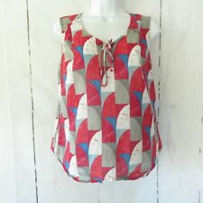 Seasalt Cornwall Top UK 10 US 6 Red Cobbs Well Sleeveless Geometric Tie Neck