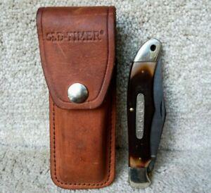 Vintage Schrade USA OLD TIMER 1250T Lockback Folding Knife With Sheath