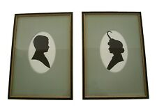 Vintage Pair Framed Cut Paper Cameo Silhouette Portraits - U.S. - Early 20th C.