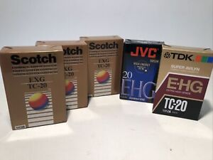 Scotch TDK JVC TC-20 VHSC Video Tape Blank Lot Of 5 Tapes / New & Sealed