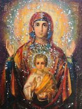 Holy Mary 5 x 3,5, Saint, Icon, Original,one of the kind, Antanenka