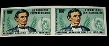 Vintage Stamp,1965,CENTRAL AFRICAN REPUBLIC,Abraham Lincoln,Imperf Pair,Specimen