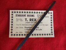 T. REX 1972 ORIGINAL VINTAGE GIG ADVERT STARLIGHT ROOMS BOSTON MARC BOLAN TREX