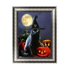 5D Halloween Cat Diamond Embroidery Painting Cross Stitch DIY Crafts Home Decor