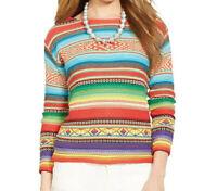 LRL Lauren Jeans Co. Womens Pullover Sweater Wool Blend Striped M-L MSRP $130
