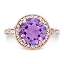 Redondo Amatista Diamante Anillo 14K Oro Rosa Halo Compromiso Solitario Cóctel