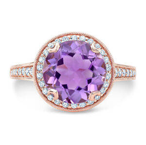 Round Amethyst Diamond Ring 14K Rose Gold Halo Solitaire Engagement Cocktail