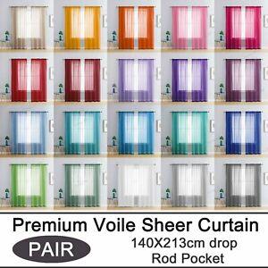 (2 Panels) Rod Pocket Sheer Curtain Organza Voile Curtain Window Drape 140x213cm