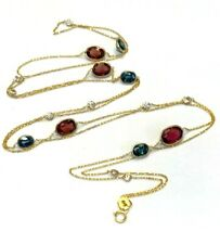 """36"""" Long Diamond Sapphire Rubellite by the Yard 14K Yellow Gold Necklace"""