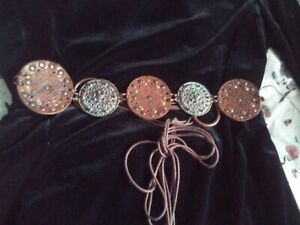 Brown Leather /Metal Discs Boho Hippy Ethnic Belt Small Size - May Be Vintage
