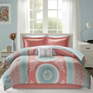 Twin XL Full Queen Bed Bag Coral Blue Geometric Stripe 9 pc Comforter Sheet Set