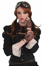 SteamPunk Cosplay Brown Fishnet and Lace Fingerless Gloves, NEW UNWORN