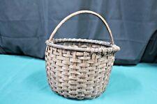 Antique Vintage Primitive Hand Woven Gathering Basket, Oak Splint w/handle