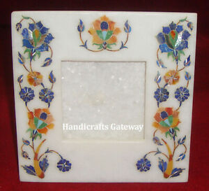 Marble Antique Inlay Floral Art Photo Frame, Latest Designer Stone Photo Frames
