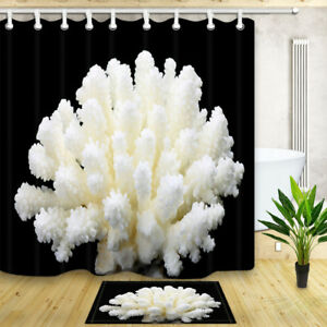 Coral close-up Bathroom Mat Bathtub Shower Curtain Waterproof Fabric & 12 Hooks
