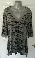 ❤ JOSEPH RIBKOFF Size 12 Grey Silver Shimmer Black Stretch Lagenlook Blouse Top