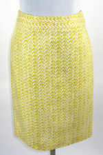 Cynthia Rowley Womens Size 4 Pencil Skirt Yellow White Geometric Design