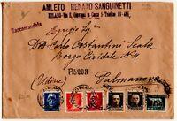 1929 REGNO IMPERIALE 5 COLORI - L.2,55+L.1,75+L.2+CENT.35+CENT50 SU RACCOMANDATA