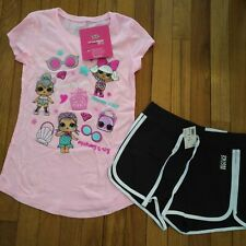 NWT Justice Girls Outfit LOL Dolls Top/Dolphin Shorts Size 10
