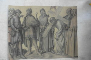 BELGIAN SCHOOL 1897 - THE STATIONS OF THE CROSS BY COPPEJANS - 2ND STATION