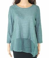 Ali Miles Womens Knit Top Green Size Medium PM Petite Chiffon-Trim $79 203