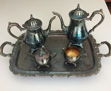 ONEIDA Silver Plate Roses DU MAURIER 5-pc COFFEE & TEA SERVICE with Waiter TRAY
