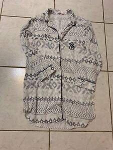 VICTORIA'S SECRET LONG SLEEVE DRESS PAJAMA GREY/WHITE (S/P)