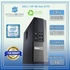 Dell /HP i5 4th Gen Quad Desktop SFF 16GB RAM SSD / HDD Windows 10 PC Computer