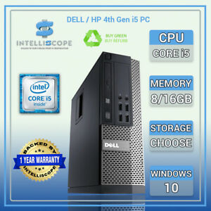 Dell /HP i5 4th Gen Quad Desktop SFF 16GB RAM SSD / HDD Windows 10 PC Computer