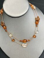 """1928 Rose Gold Chain Faceted Beaded 2 Strand Necklace Clear Amber Lucite 16"""""""