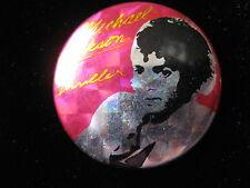 Michael Jackson-UK Prism Foil-Thriller-Red-Pin-Badge-Button-80's Vintage-Rare
